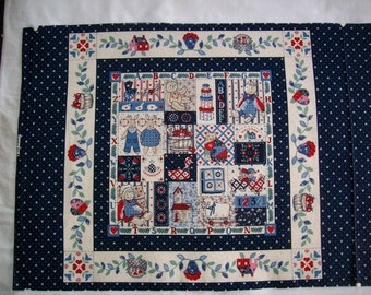 Wamsutta-The Framingham Collection 100% cotton pillow design,wallhanging,quilt.,applique,patchwork,blue,red