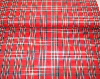 Christmas plaid,red and green with blue and gold,woven not printed, vintage fabric, by yard