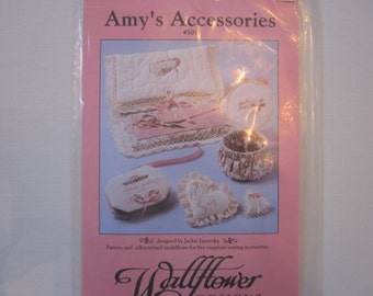 Amy's Accessories #501, Wallflowers Remembrance Collection, pattern and silkscreened medallions for 5 sewing accessories