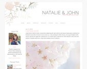 "Blogger Template, Blog Template - ""Natalie | by Kate"" Instant Digital Download, Pastel Floral"