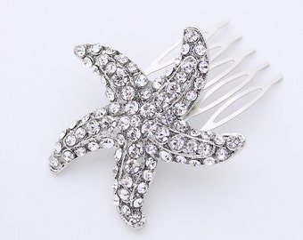 Beach Wedding Hair Accessory, Starfish Comb, Destination Wedding, Bridal Hair Comb, Rhinestone Silver Starfish Comb, Bridesmaid Gift