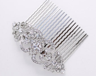 Hair Comb Bridal Rhinestone Hair Piece Wedding Jewelry Crystal Silver Hair Comb Gatsby Old Hollywood Headpiece