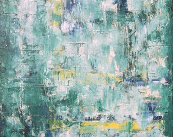 """Original Green Texured Modern ABSTRACT PAINTING Oil on canvas 20x20, """"Converge"""" by N. Prutski"""