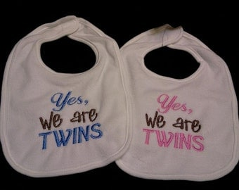Yes, We're TWINS Bib or Burp Cloth SET