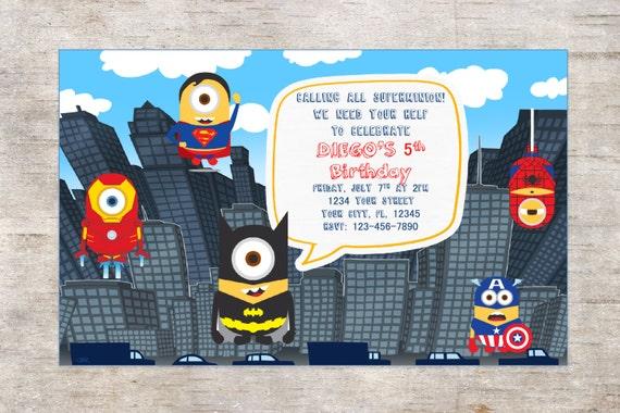 Preferenza Festa di compleanno MINION supereroi invito invito OH19