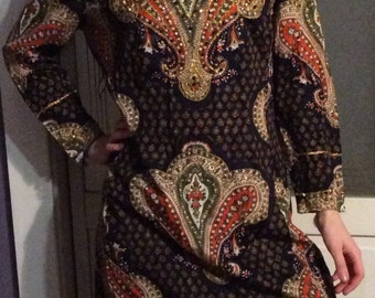 1970s Long Sleeved Retro Dress