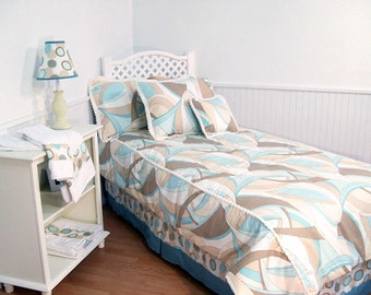 Aqua Swirl Twin Comforter