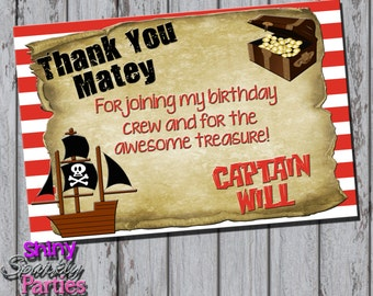 Printable PIRATE THANK YOU Card - Pirate Party Thank You Card - Boy's Birthday Thank You Cards - Pirate Ship Thank You Card - Pirate Party