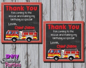 Printable FIRETRUCK FAVOR TAGS - Firetruck Party Favor Tags - Firefighter Favor Tags - Fireman Favor Tags - Firetruck Thank You Tags