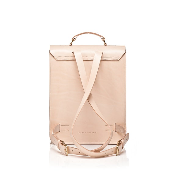 Emma Boxy Natural Leather Backpack