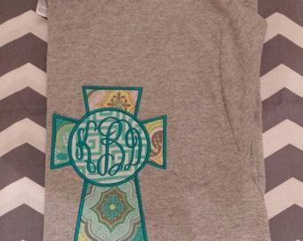 Monogrammed Cross Applique Short Sleeve Tshirt
