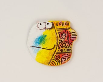 Funny Fish magnet. The geometric style. Fridge magnet