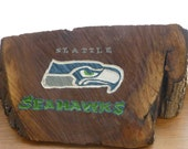 Seattle Seahawks Sign, made from a wood log, hand painted, hand carved, rustic