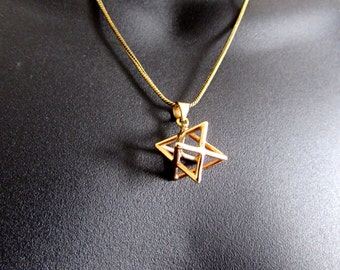 Merkaba Necklace Pendant Sacred geometry Kabbalah Jewelry Star of David 3d Seed of life  Handmade Free UK delivery BP1