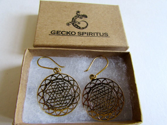 Sri Yantra Brass Mandela Earrings, Earrings handmade,Yoga Earrings with hooks, Nickel Free, Indian Jewellery, Gift boxed,Free UK post BG10