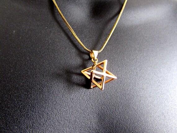 Merkaba Necklace Pendant Sacred geometry Kabbalah Jewelry Star of David 3d Seed of life  Handmade Free UK delivery BP1