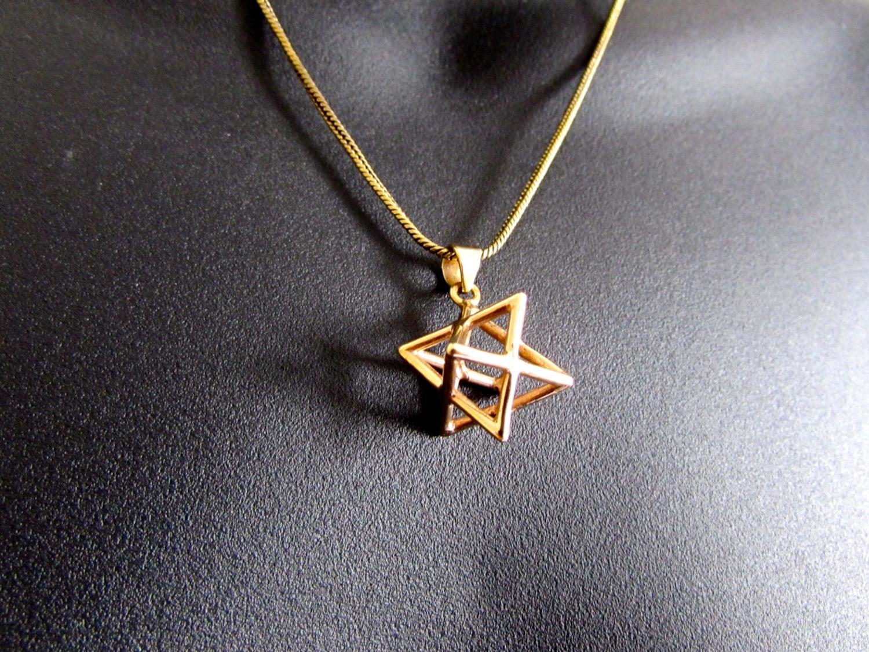 merkaba necklace pendant sacred geometry kabbalah jewelry