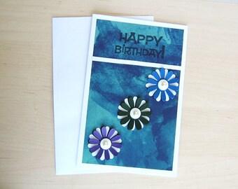 Triple Daisy Birthday Card in  Midnight