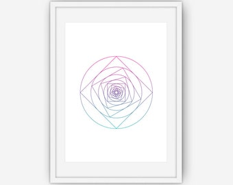 Geometric Rose Art, Rose Print, Rose Art, Floral Wall Art, Wall Art ,Printable, Instant Download