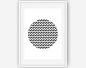 Black and White Chevron Wall Art, Abstract Art, Modern Home Decor, Wall Art, Printable, Instant Download