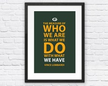 Vince Lombardi Green Bay Packers Inspirational Measure Quote Poster Print |Downloadable Digital JPG File| Wall Art for Football Fans