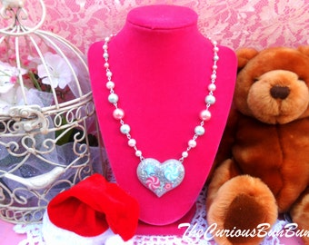 Sparkly Candy Heart Beaded Chain Necklace