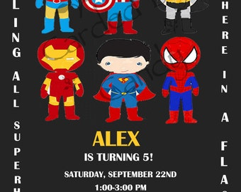 Calling all Superheros Birthday Party Invitation 5x7