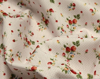 Fabric cotton white Strawberry flowers cotton