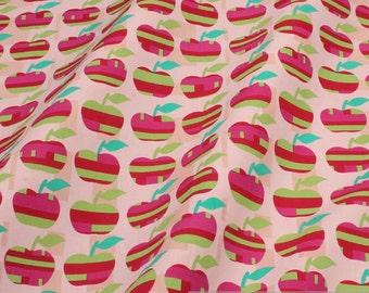 fabric pure cotton pink apple retro style