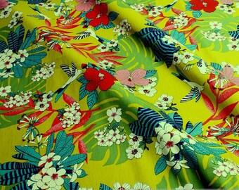 Fabric pure cotton poplin kiwi hummingbird colourful flowers philodendron lime green