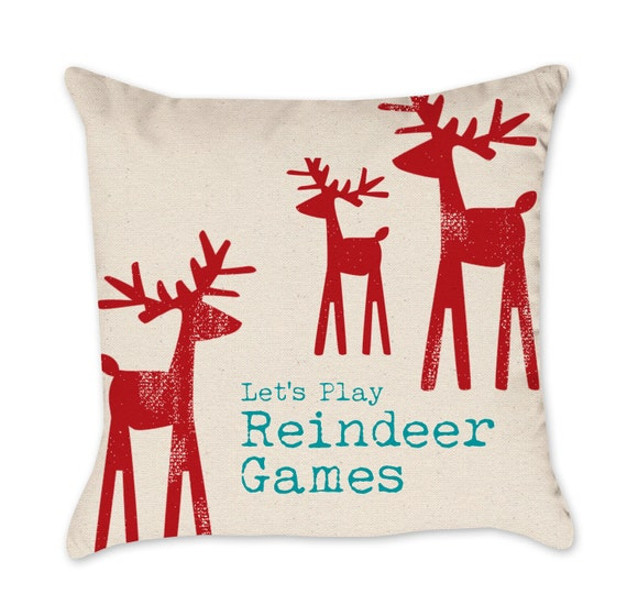 Christmas Throw Pillows From Kohls : Items similar to Christmas Pillow Cover - Cotton Duck Natural Throw Pillow Cover Reindeer on Etsy