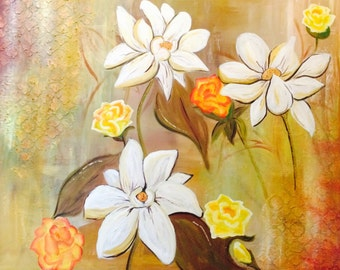 Large Original Wall Art Painting Daisies and roses!
