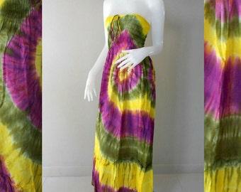 100 % Tie Dye Cotton Dress/Boho Hippie Funky Smocked Maxi Dress /Long Skirt( (416)