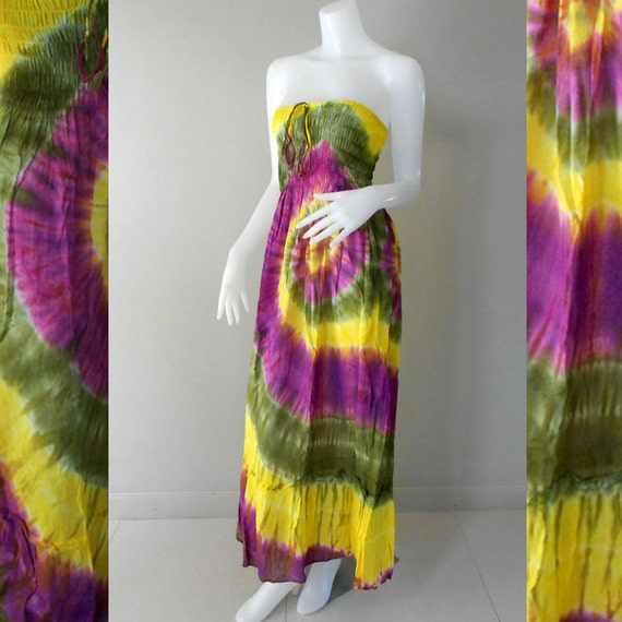 100 % Tie Dye Cotton Dress/Boho Hippie Funky Smocked Maxi Dress /Long Skirt( (416)