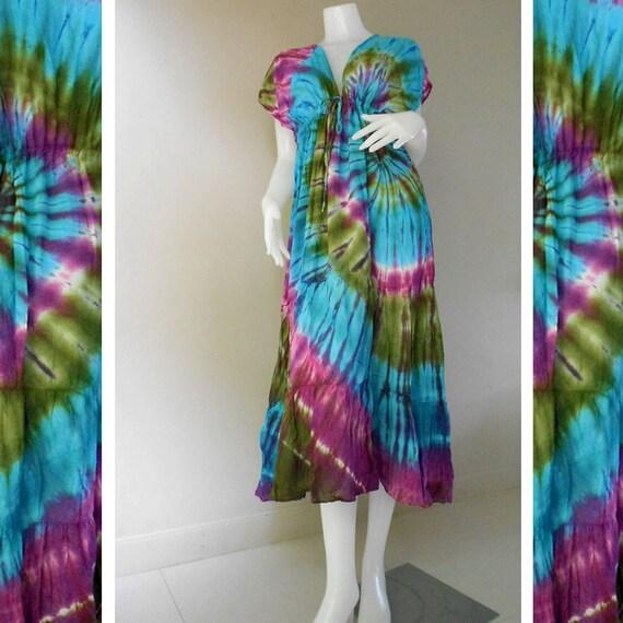 New Tropical Colorful Tie Dye Cotton Boho Hippie V-Neck Long Kimono Women Summer Dress S-L(TD348 )