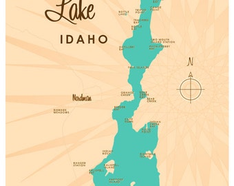 Priest Lake, ID Map Print