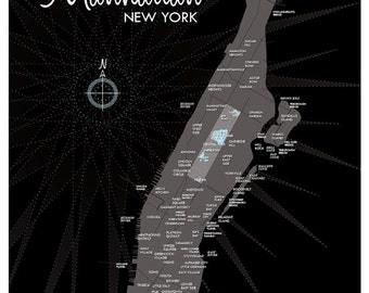Manhattan Map Print (Black)