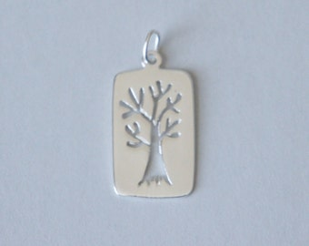 Sterling Silver Tree, Silver Tree, 1 piece, Tree Charm, Tree Pendant, 12x23mm, Fast Shipping from USA