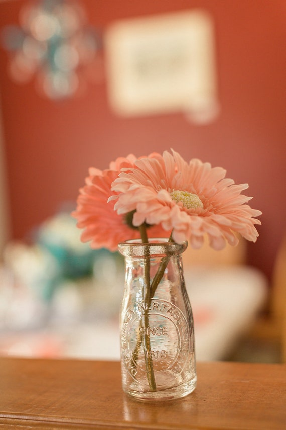 Items similar to vintage milk bottle flower vase glass