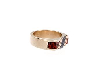 Mens wedding band, Dinosaur bone ring, rare stone ring, engagement ring, blue dinosaur bone,