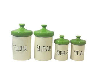 Mid Century Kitchen Canister Set in Olive Green and Ivory