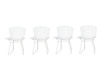 Knoll White Chairs, Harry Bertoia, Set of Four