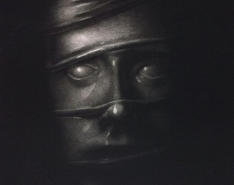 Graphic print, black and white, art, ink, Tension - Intaglio Mezzotint print. Fine art print, edition of 10. Unframed