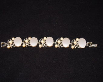 Silver Tone and Faux Pearl Bracelet