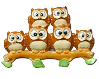 Personalized Owl Family of 6 Christmas Ornament