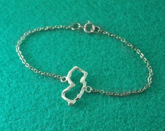 Silver New Jersey Bracelet,Custom Map Bracelet,Personalized New Jersey Bracelet, New Jersey jewelry,Map pendant,custom map jewelry
