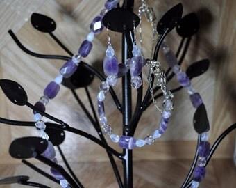 Amethyst Necklace earring bracelet set