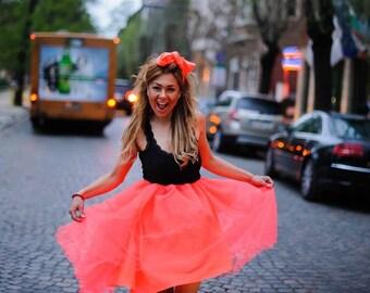coral skirt/tulle skirt/