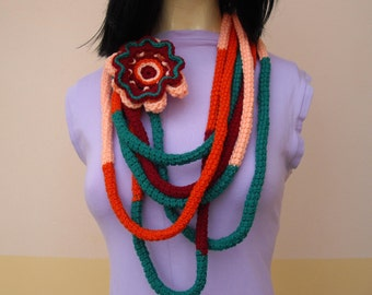 Crochet i-cord Scarf Necklace