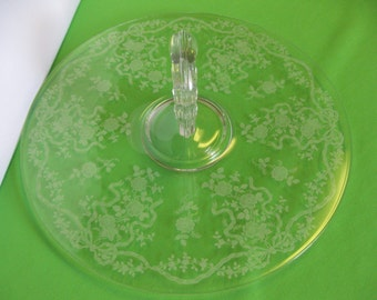"""Fostoria Glass Romance Etched 11"""" Serving Platter Center Handle Made in USA"""